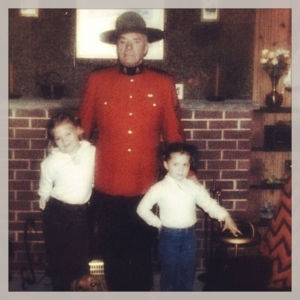 My sister and me with our grandfather Staff Sergeant Judson G. Skinner.