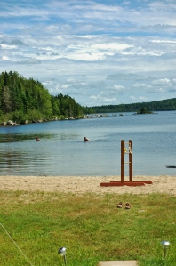 Swimming in the lake, 'ladder golf' on the beach