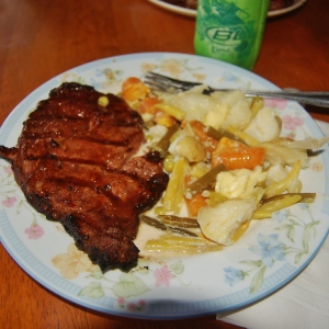 Steaks off the grill & Hodge-Podge with market veggies