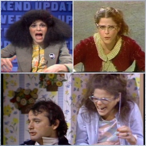 SNL characters clockwise top right; Roseanne Rosannadanna, Emily Littell, Lisa Loopner & Todd DiLaMuca